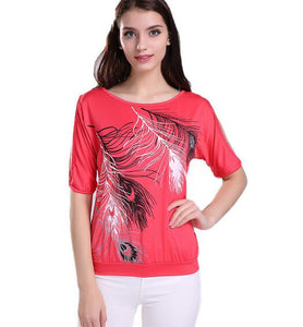 Feather Printed Off Shoulder - Lika Women