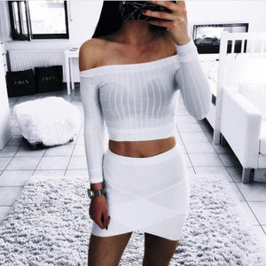 2017 off shoulder  long sleeve crop top - Lika Women