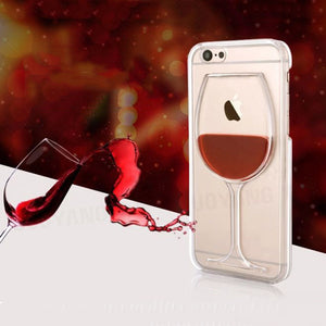 Hot Red Wine Glass Liquid Quicksand Transparent Phone Case - Lika Women
