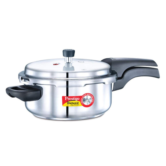 Prestige Deluxe Alpha Outer Lid Stainless Steel Pressure Cooker, Silver