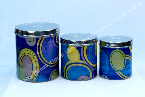 Stainless Steel Design Storage Container - Blue, Sambadam