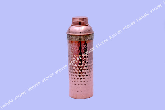 Copper Water Bottle Hammered Brass Design 750 ml