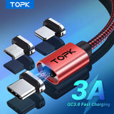 [3-Pack] TOPK AM45 18W Fast Charging Magnetic Cable