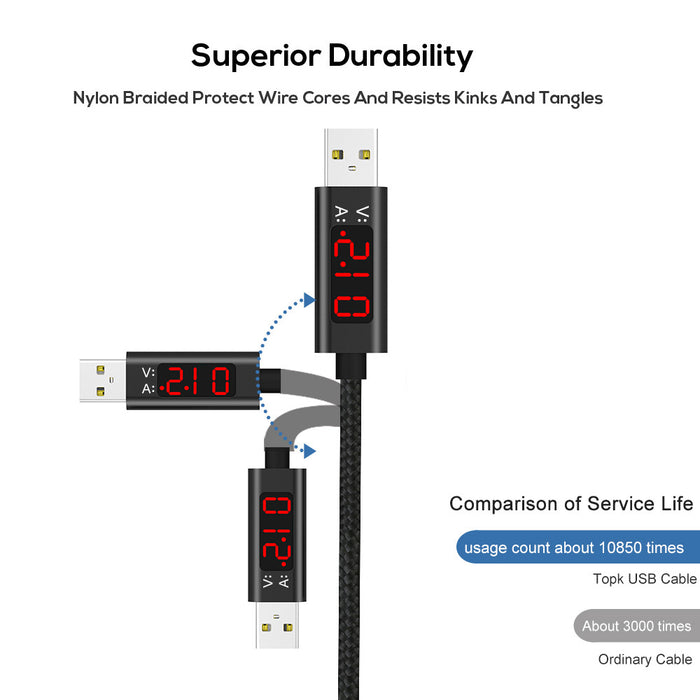 TOPK AC27 LCD Display Lightning Cable - TOPK Official Store