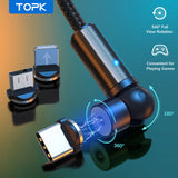 [3-Pack] TOPK AM68 540° Rotate Magnetic Charging Cable - TOPK Official Store