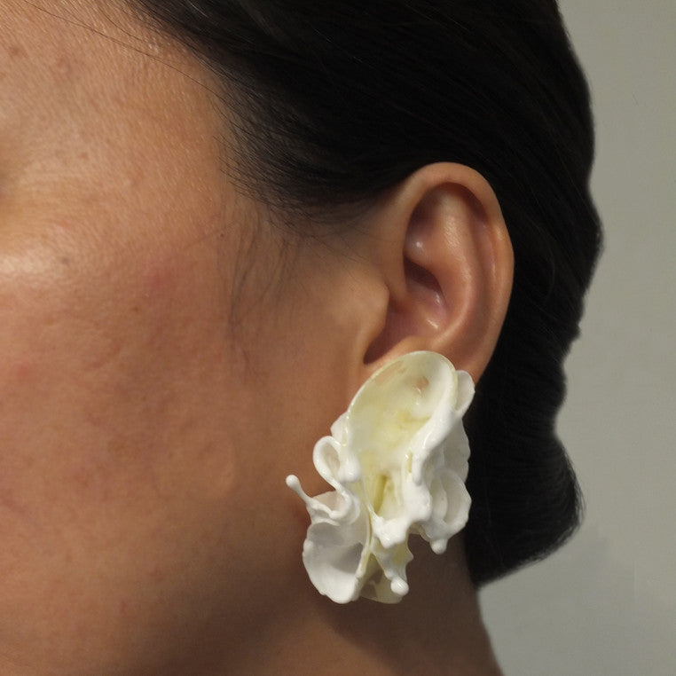 Shan Shan Mok- White Wave Form Earrings