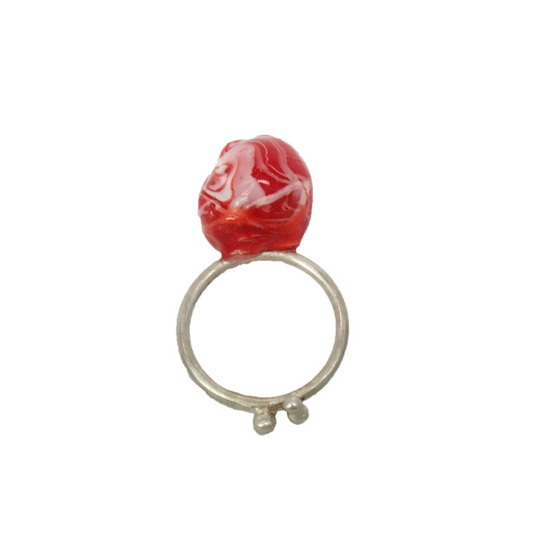 Shan Shan Mok- Red and White Ball Ring