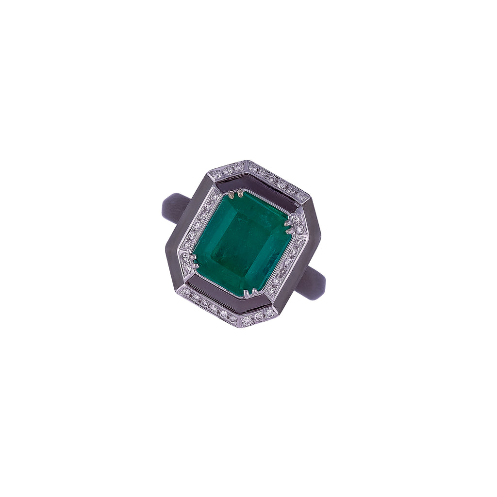 Emerald & Diamond Ring - Vertex Collection by Rachel Yeung Ame Gallery