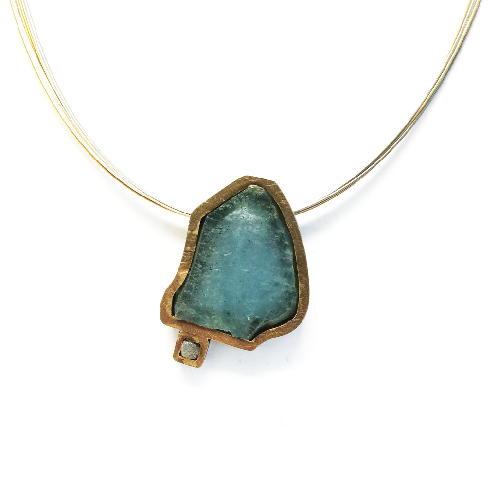 Gemma López - Aquamarine and Rough Diamond Silver Pendant