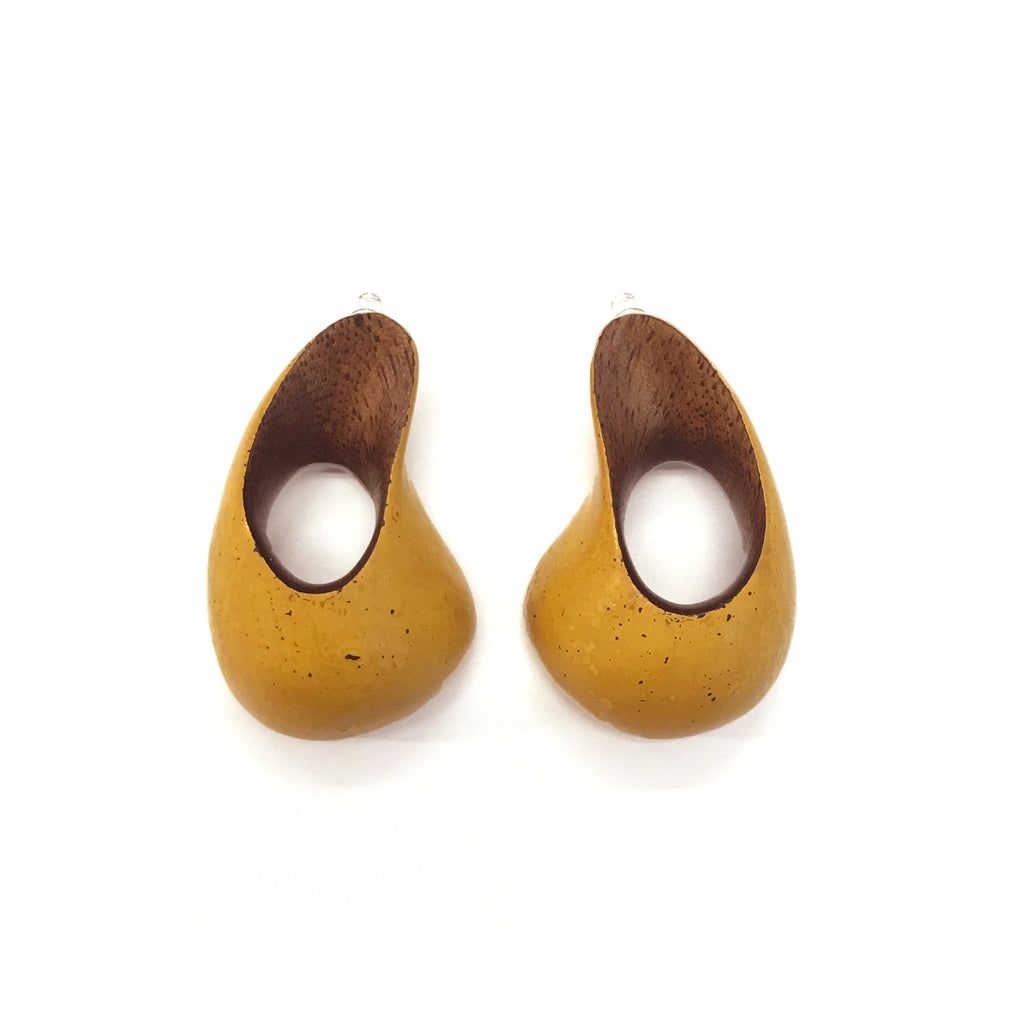 Walnut Wood earrings- Confluence by Joo Hyung Park Ame Gallery