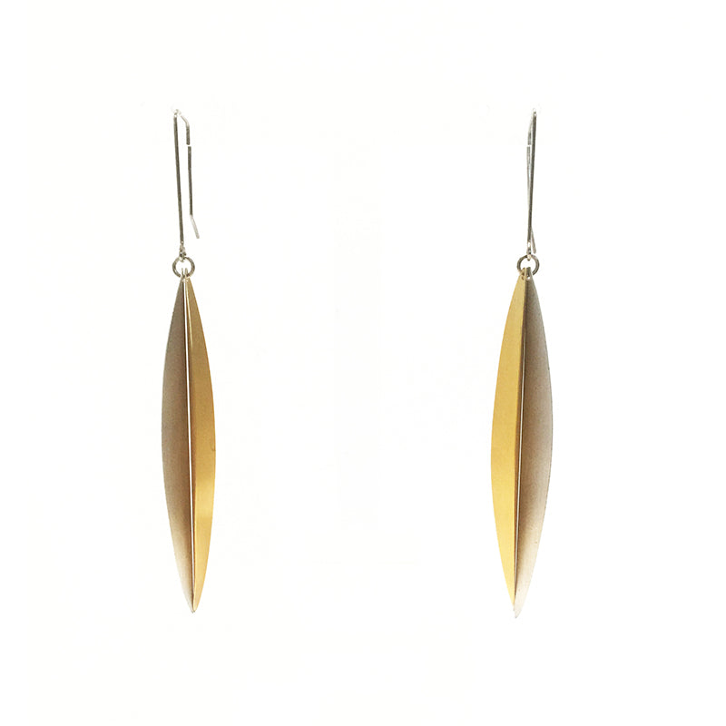 Two Leave Gold Plated Silver and  Silver Earrings