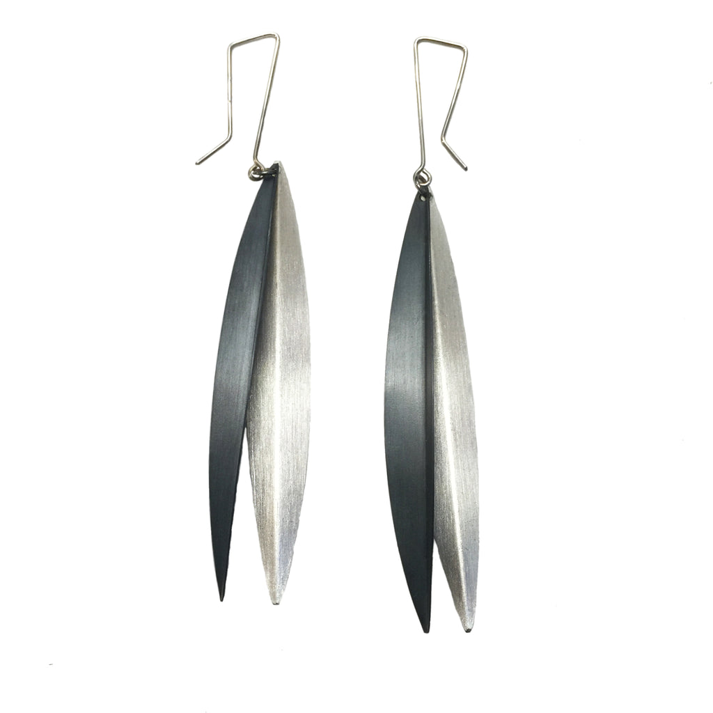 Two Leaves Oxidized Silver and Silver Earrings