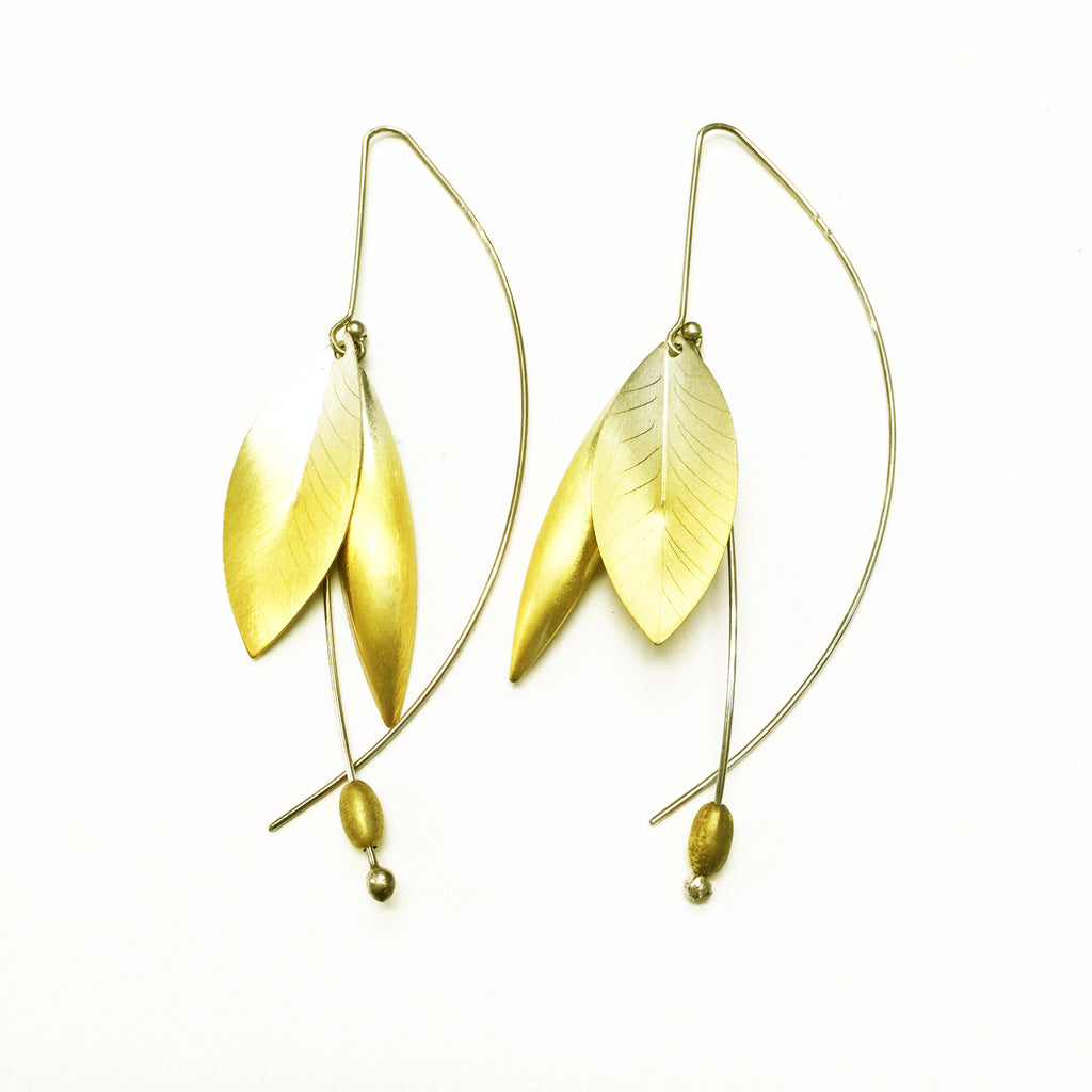 Gold Plated Silver and Silver Leave Earrings