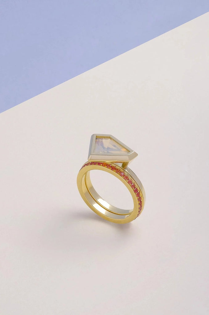 White Opal Ring - Vertex Collection by Rachel Yeung Ame Gallery