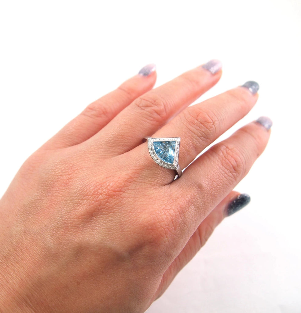 Aquamarine Ring - Vertex Collection by Rachel Yeung Ame Gallery