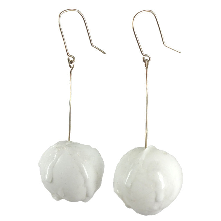 Shan Shan Mok- White Sphere Long Earrings