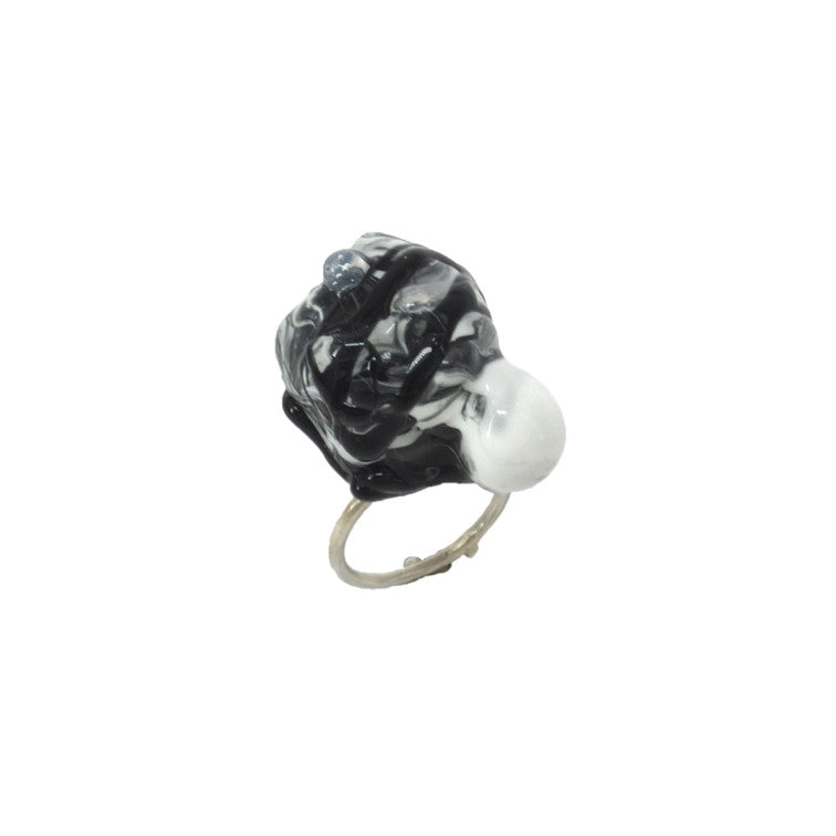 Shan Shan Mok- Black and White Ball Ring