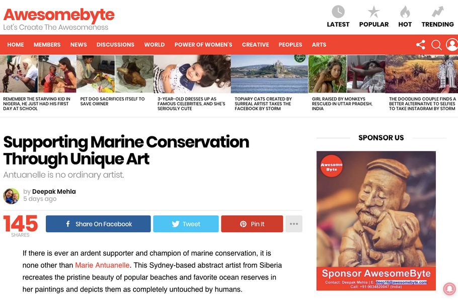 AWESOMEBYTE: Supporting Marine Conservation Through Unique Art