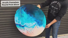 Load and play video in Gallery viewer, Pink Abstract Resin Artwork. Blissful Blush. Round Perspex Acrylic Print