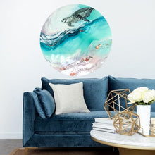Load image into Gallery viewer, Turtle Teal Blue artwork. Abstract Coastal Artwork. Antuanelle 2 Bounty 2.0. Australian Seascape. Round