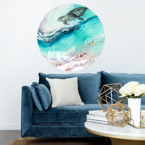 Turtle Teal Blue artwork. Abstract Coastal Artwork. Antuanelle 2 Bounty 2.0. Australian Seascape. Round
