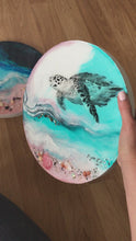 Load and play video in Gallery viewer, Sea Turtle Ocean Seascape. Bounty Turtle 30cm - 60cm Original Custom Artwork. Australian Seascape. Round Artwork. COMMISSION.