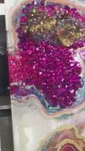 Load and play video in Gallery viewer, Starbright 1 Pink and Gold Geode Art Crystal Original Artwork