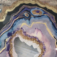 Load and play video in Gallery viewer, Purple and Gold Amethyst Geode Original Artwork. COMMISSION - Custom Artwork
