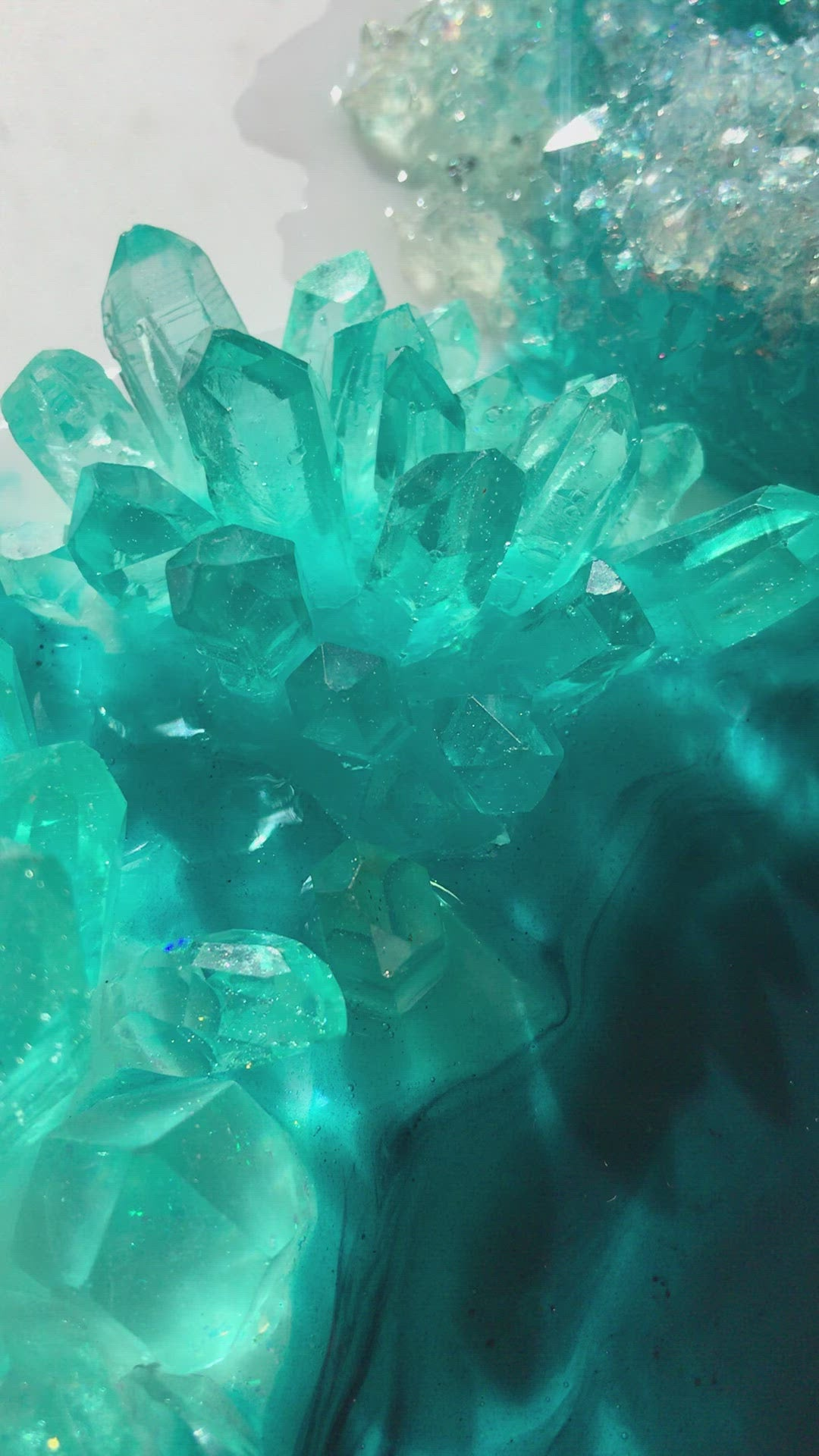 Aqua Aura Crystal. Emerald. Original Artwork. Light Lamp. Antuanelle