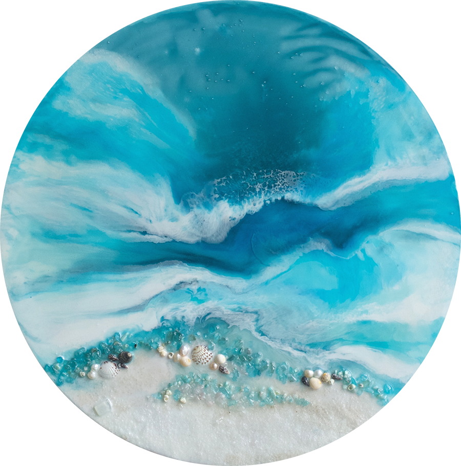 Round Abstract Sea. Teal and Blue. Whitsundays. Art Print. Antuanelle 2 Acrylic Beach Artwork. Perspex Print