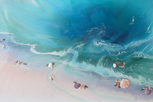 Abstract Seascape. Bright Teal. Bounty Dream. Art Print. Antuanelle 5 Dream Ocean Beach Wall. Limited Edition Print