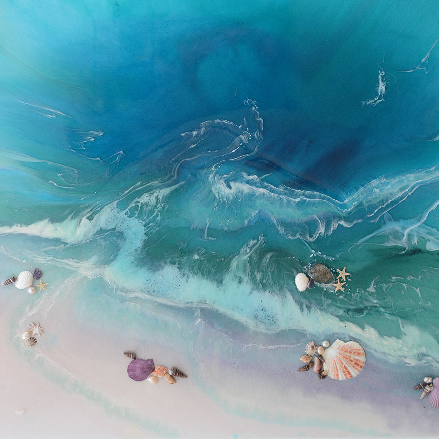 Abstract Seascape. Bright Teal. Bounty Dream. Art Print. Antuanelle 6 Dream Ocean Beach Wall. Limited Edition Print