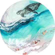 Load image into Gallery viewer, Custom Made. Turtle Ocean Artwork. Antuanelle 6 Bounty 2.0 Abalone Shell. Australian Seascape. Round COMMISSION.