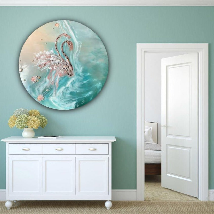 Customizable Artwork. Tropical Abstract. Flamingos in Love. Antuanelle 3 Abstract birds. Original COMMISSION - Custom Artwork