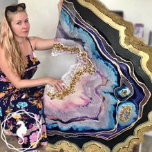 Load image into Gallery viewer, Purple and Gold amethyst geode - Custom Artwork 1 Amethyst Geode Original Artwork. COMMISSION