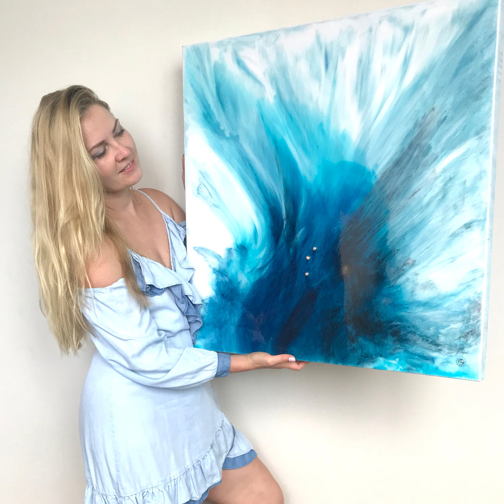 1 My Blue Heaven 2. Original Abstract Artwork. Angel Wings Flight with Genuine Pearls and Swarovski