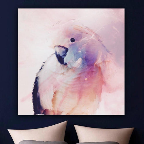 Pastel Artwork. Pink Bird. Cockatoo Parrot. Art Print. Antuanelle 1 Parrot in Blush | Canvas Print