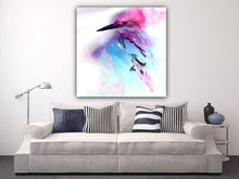 Load image into Gallery viewer, Abstract Colourful bird. Pink Blue Birdie. Art Print. Antuanelle 2 and Limited Edition Print