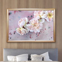 Load image into Gallery viewer, Abstract Purple Flowers. Flower Power Tea Party. Art Print. Antuanelle 1 Soft Pastel Floral Artwork. Limited Edition Print