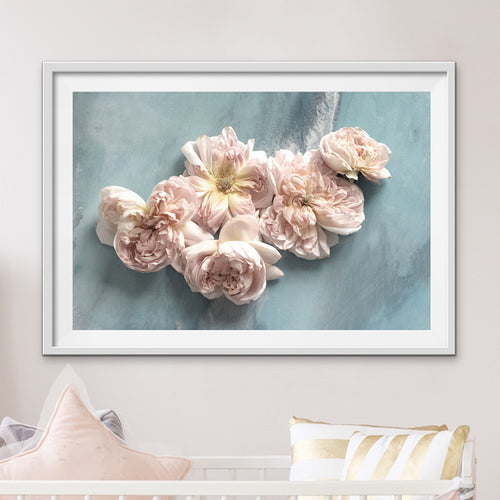 Abstract Seascape. Teal. Flower Power Pastel. Art Print. Antuanelle 1 Soft Neutral Floral Artwork. Limited Edition Print
