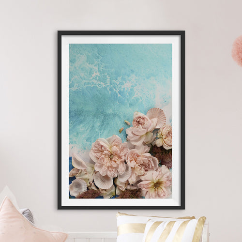 Abstract Floral Artwork. Soft Teal. Flower Power. Art Print.Antuanelle 1 Pastel Limited Edition Print