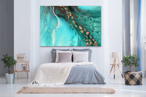 Abstract Ocean. Teal & Aqua. Rise Above Tide 3. Art Print. Antuanelle 4 Artwork. Limited Edition Print