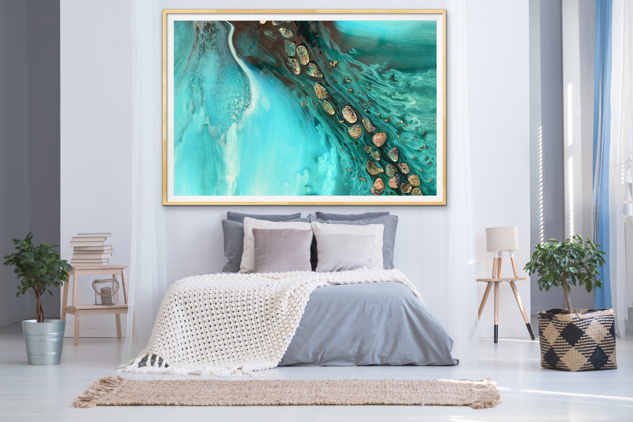 Abstract Ocean. Teal & Aqua. Rise Above Tide 3. Art Print. Antuanelle 2 Artwork. Limited Edition Print