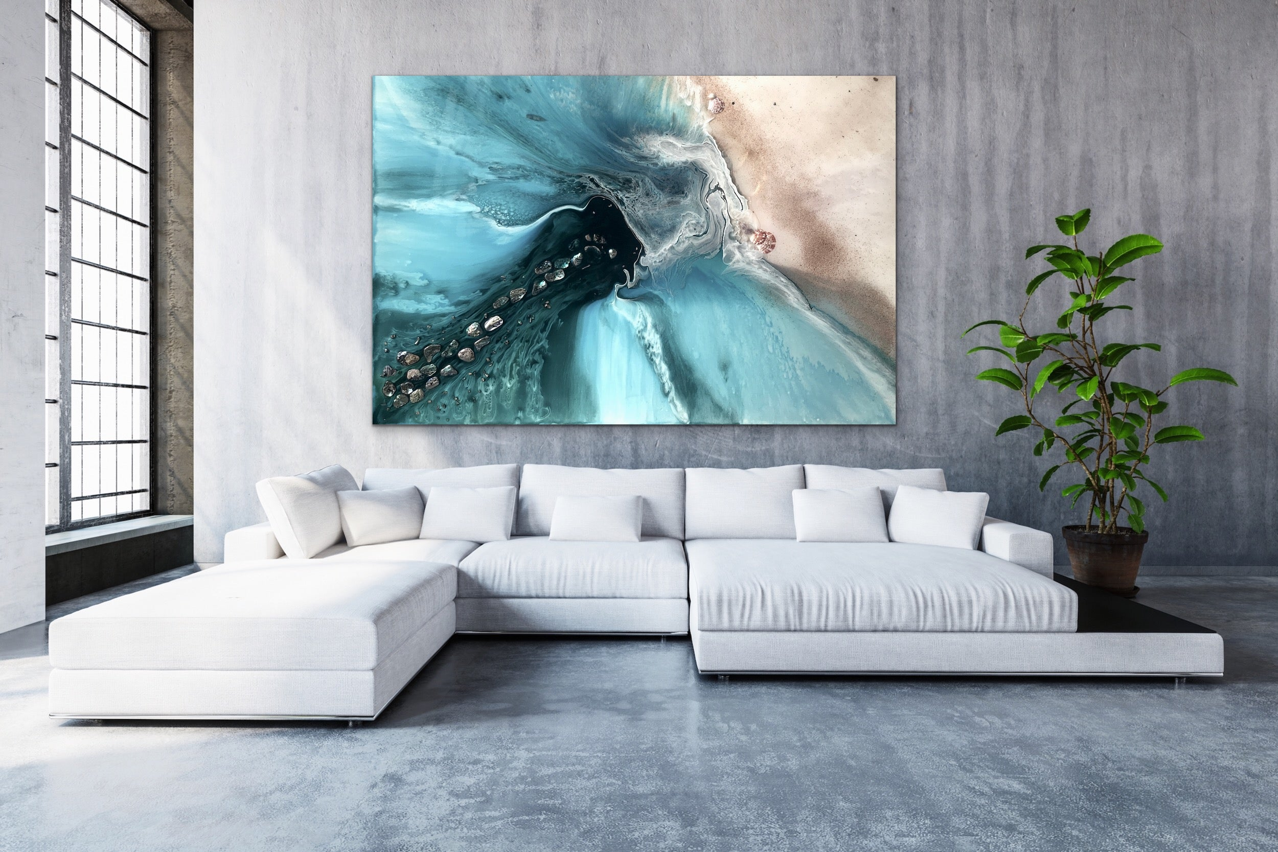Abstract Sea. Muted Teal. Rise Above 4 Neutral. Art print. Antuanelle 6 Ocean Seascape. Limited Edition Print