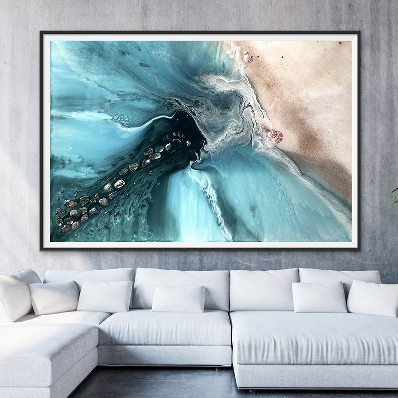 Abstract Sea. Muted Teal. Rise Above 4 Neutral. Art print. Antuanelle 1 Ocean Seascape. Limited Edition Print