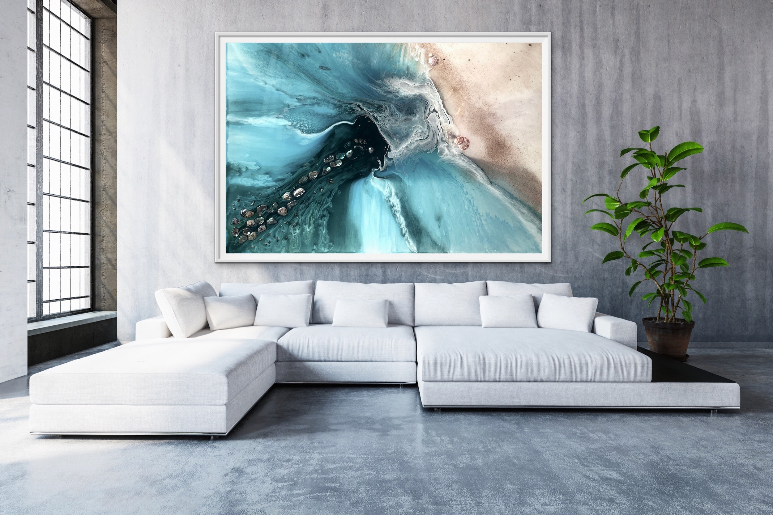 Abstract Sea. Muted Teal. Rise Above 4 Neutral. Art print. Antuanelle 5 Ocean Seascape. Limited Edition Print