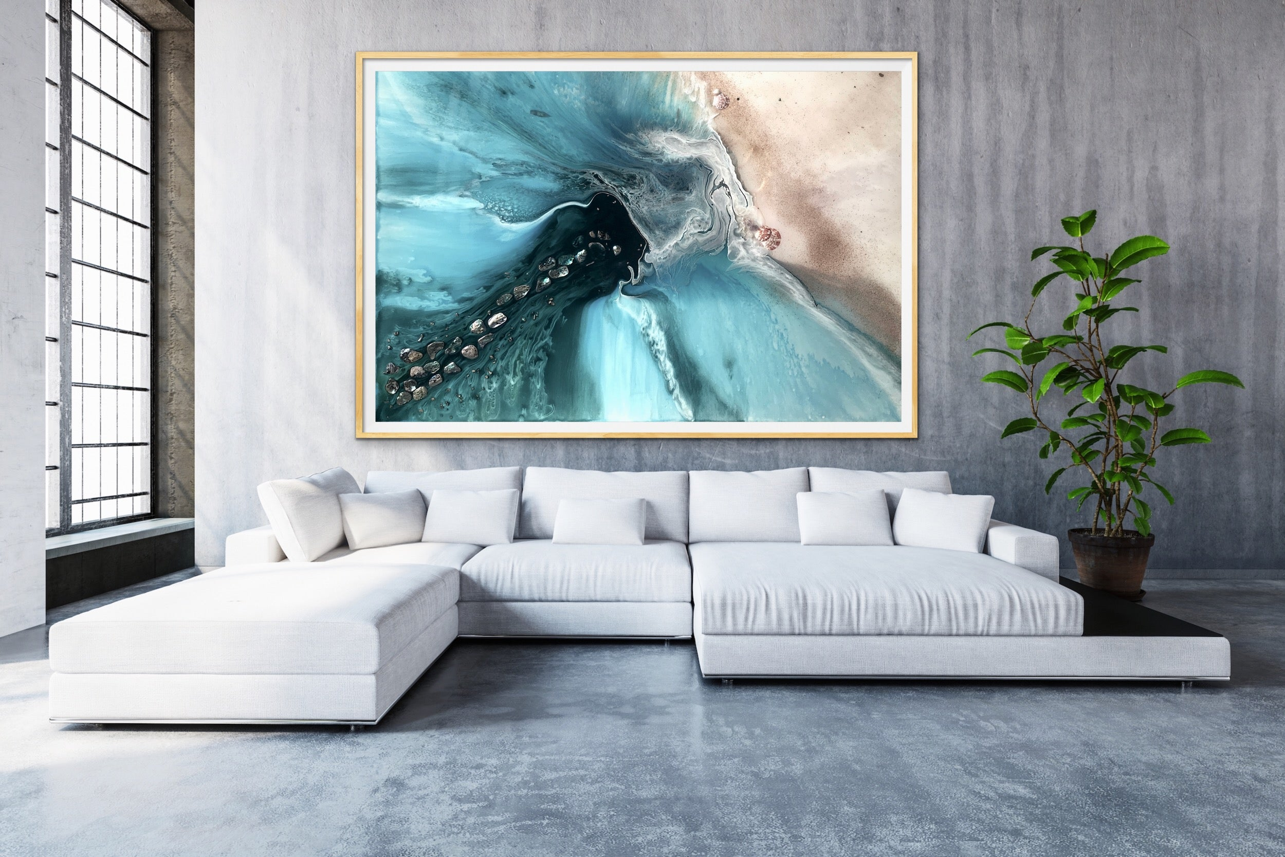 Abstract Sea. Muted Teal. Rise Above 4 Neutral. Art print. Antuanelle Ocean Seascape. Limited Edition Print