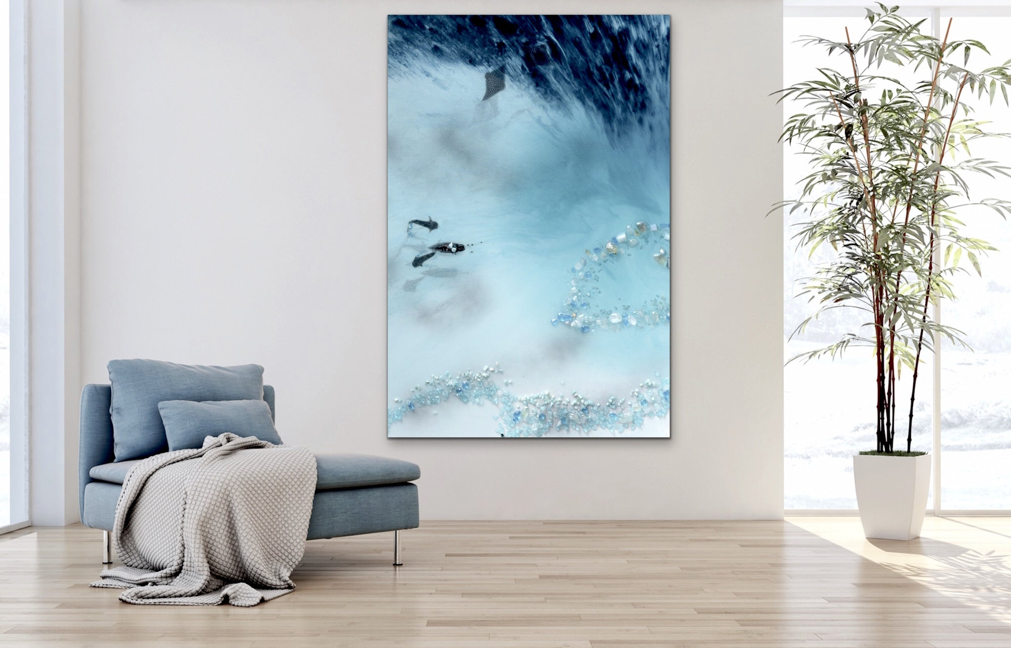 Abstract Reef Artwork. Grey & blue. Blue Lagoon. Art Print. Antuanelle 4 Lagoon Limited Edition Print