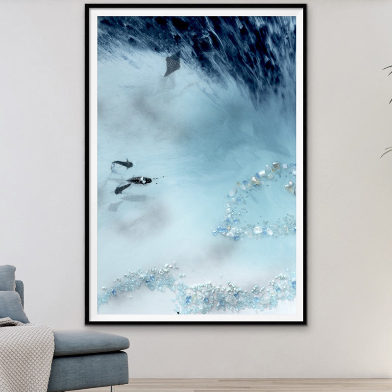 Abstract Reef Artwork. Grey & blue. Blue Lagoon. Art Print. Antuanelle 1 Lagoon Limited Edition Print