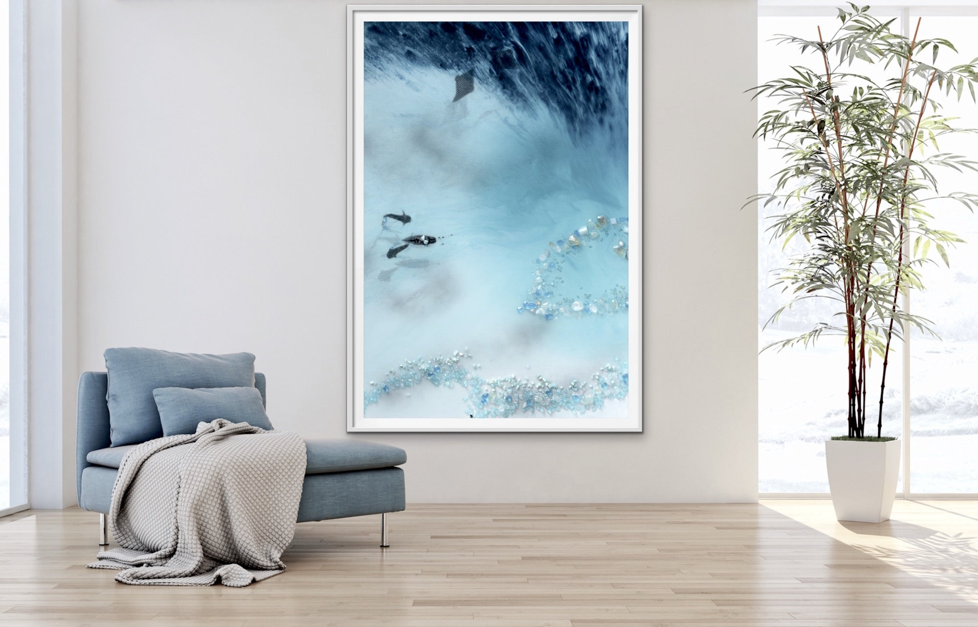 Abstract Reef Artwork. Grey & blue. Blue Lagoon. Art Print. Antuanelle 3 Lagoon Limited Edition Print